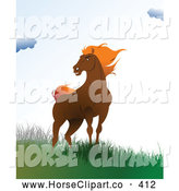 Clip Art of a Wild Brown Horse Standing on a Windy Hill in Green by Leonid