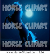 Clip Art of a Wild White Horse Silhouetted in Glowing Blue Moon Light, Rearing up in the Night by Dero