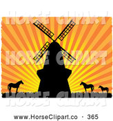 Clip Art of a Windmill and Horses Silhouetted Against an Orange Bursting Striped Sunset by Mheld