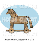Clip Art of a Wooden Trojan Horse in Profile on a Blue Oval by R Formidable