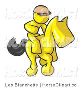 Clip Art of a Yellow Man, a Jockey, Riding on a Matching Race Horse and Racing in a Derby by Leo Blanchette