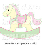 Clip Art of a Yellow, Pink and Green Children's Wooden Rocking Horse Toy by Pams Clipart