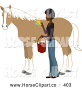 Clip Art of a Young Asian Indian Woman Washing and Grooming Her Horse by Rosie Piter