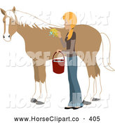Clip Art of a Young Blond Caucasian Woman Washing and Grooming Her Strong Brown Horse by Rosie Piter