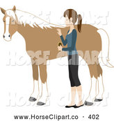 Clip Art of a Young Caucasian Woman Grooming Her Friendly Pet Horse with a Brush by Rosie Piter