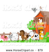 Clip Art of AHorse and Farm Animals in a Barnyard by BNP Design Studio