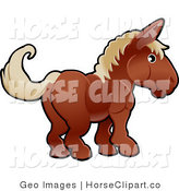 Clip Art of an Adorable Brown Horse with Tan Hair Facing to the Right by AtStockIllustration