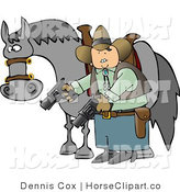 Clip Art of an Armed Cowboy by His Steed by Djart