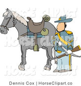 Clip Art of an Armed Union Soldier in His Uniform Standing Beside His Horse on a Battlefield by Djart