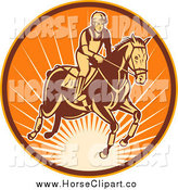 Clip Art of an Equestrian and Horse in a Sunny Circle by Patrimonio