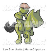 Clip Art of an Olive Green Man, a Racing Jockey, Riding on a Race Horse and Racing in a Derby by Leo Blanchette