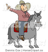 Clip Art of an Upset off Cowboy Sitting on a Saddle on a Horse, Flipping off Someone Behind Him by Djart