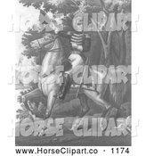 Clip Art of Andrew Jackson with the Tennessee Forces on the Hickory Grounds, Black and White by JVPD