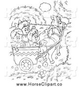 Clip Art of Black and White Children Riding in a Horse Cart by Alex Bannykh