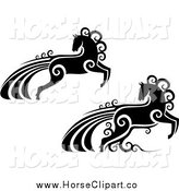 Clip Art of Black and White Horses with Swirls by Vector Tradition SM