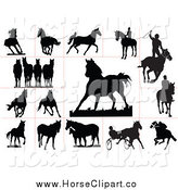 Clip Art of Black Horse Silhouettes and Red Lines by