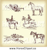 Clip Art of Brown Sketches of Jockeys and Horses on Aged Paper by Eugene