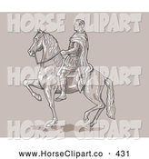 Clip Art of Caesar Riding on Horseback to the Left by Patrimonio