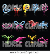 Clip Art of Colorful Animal Icons and Reflections on Black by Cidepix