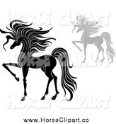 Clip Art of Elegant Black and White and Gray Prancing Horses by Vector Tradition SM