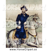 Clip Art of General Ulysses S. Grant on a White Horse by JVPD