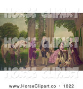 Clip Art of George Washington and Family Welcoming Marquis De Lafayette at Mount Vernon by JVPD