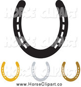 Clip Art of Gold Bronze Silver and Black Horse Shoes by Michaeltravers