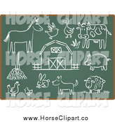 Clip Art of Horse and Chalkboard Sketch Icons by Qiun