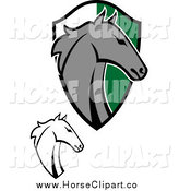 Clip Art of Horse Heads and a Shield by Vector Tradition SM