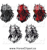 Clip Art of Horse Heads by Vector Tradition SM