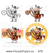 Clip Art of Horseback Western Sheriffs by Hit Toon