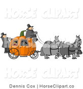 Clip Art of Horses Pulling a Pumpkin Carriage by Djart