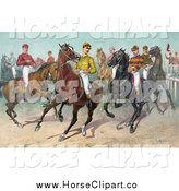 Clip Art of Jockeys on Horseback, Ready for a Race by JVPD
