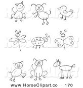 Clip Art of Nine Stick Figure Cat, Dog, Bird, Dragonfly, Ladybug, Butterfly, Pig, Pupy and Horse by C Charley-Franzwa