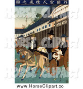 Clip Art of People Riding Carriages in Japan by JVPD