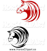 Clip Art of Red and Black Horse Head Profiles by Vector Tradition SM