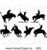Clip Art of Silhouetted Rodeo Cowboys with Bulls and Horses by Leonid