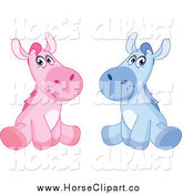 Clip Art of Sitting Blue and Pink Boy and Girl Horses by Yayayoyo