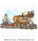 Clip Art of Two Belgian Horses Pulling a Farmer on a Plough by Djart