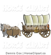 Clip Art of Two Horses, One Gray and One Brown. Pulling a Big Covered Wagon on the Oregon Trail by Djart