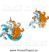 Clip Art of Two Rearing Unicorns with Orange Manes by Vector Tradition SM