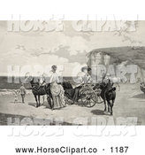 Clip Art of Two Vintage Beautiful Women by a Carriage on a Beach by JVPD