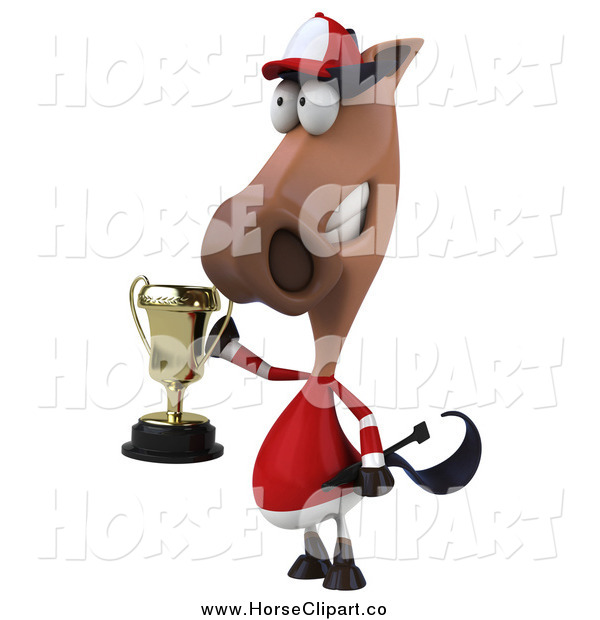 Clip Art of a 3d Polo Horse Holding a Trophy, Facing Slightly Left