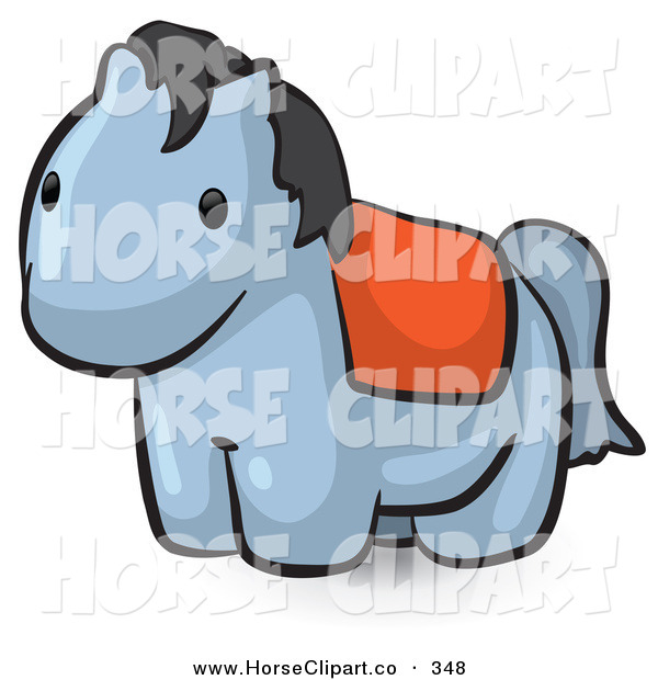 Clip Art of a Animal Factor Cute Gray Pony with a Red Saddle