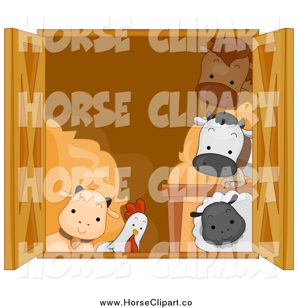 Clip Art of a Barn Window and Cute Animals