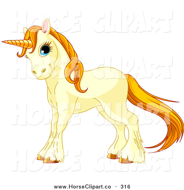 Clip Art of a Beige Cute Unicorn with Golden Hooves, Hair and Horn