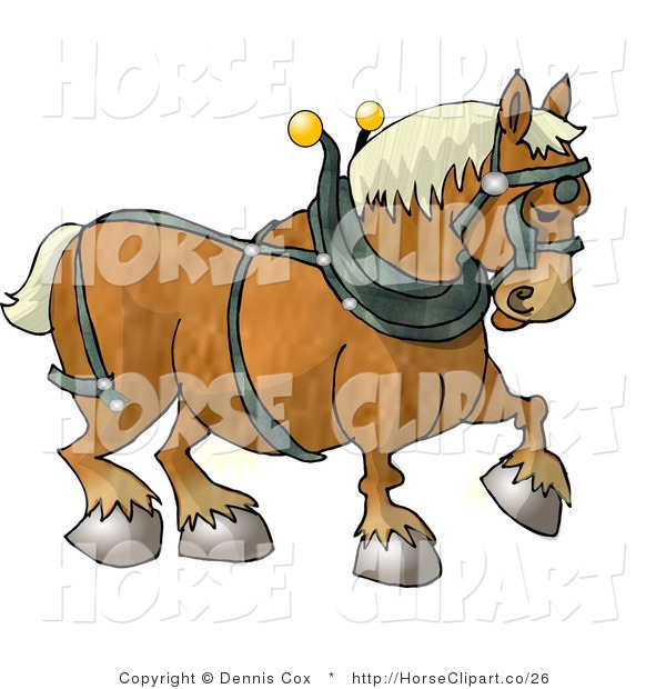 Clip Art of a Belgian Heavy Draft Horse Facing Right