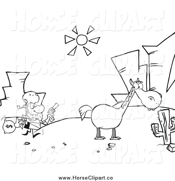 Clip Art of a Black and White Bank Robber Running Towards His Horse in the Desert