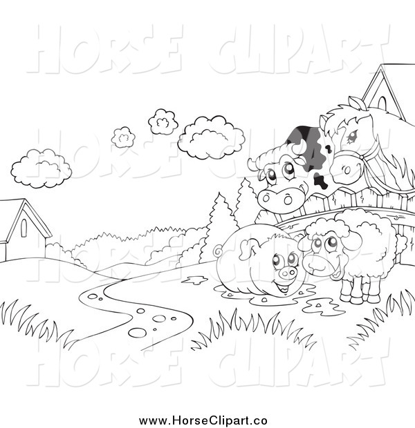 Clip Art of a Black and White Cow, Horse, Pig and Sheep on Farmland