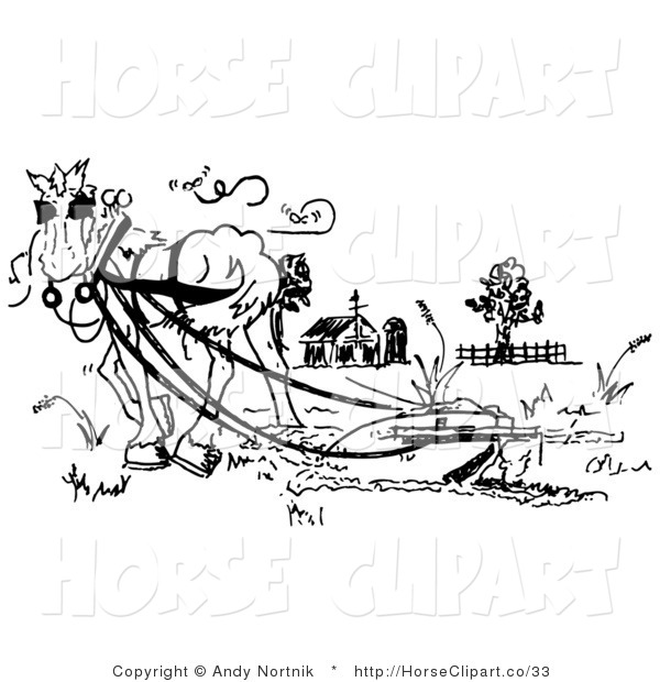 Clip Art of a Black and White Drawing of a Horse Pulling a Plow in a Barnyard Pasture